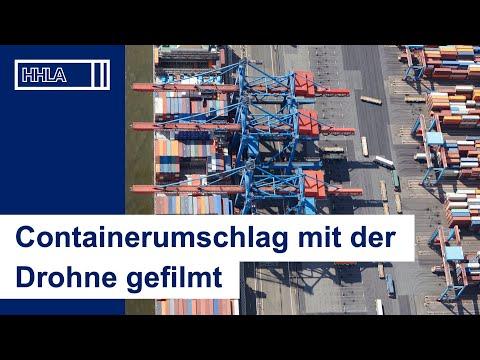 Mit der Drohne gefilmt: Containerumschlag in Altenwerder (CTA Hamburg)