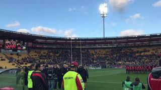 Sianne singing NZ anthem at Westpac Stadium Kiwis vs Fiji (2017 RLWC)