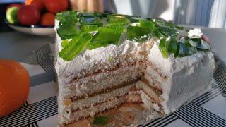 Торт с творожным кремом и желе