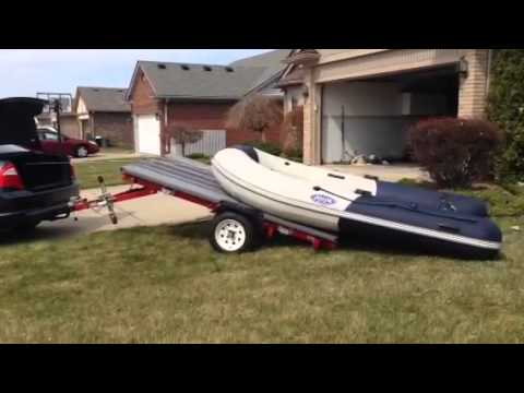 Car Trailer Winch >> Inflatable Boat trailer with Electric Winch - YouTube