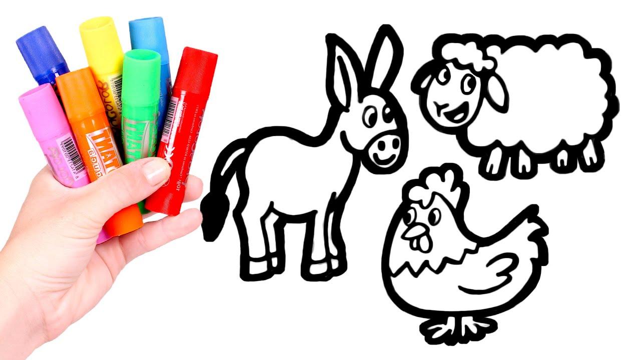 Dibuja Y Colorea 3 Animales De La Granja Vídeos Para Niños Youtube