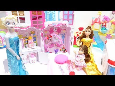 Barbie Disney Princess Baby doll and Ambulance hospital car toys doctor play