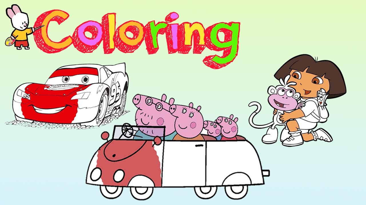 peppa pig cars dora the explorer coloring pages 1 youtube