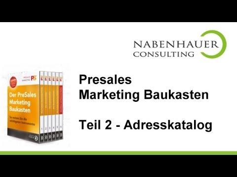 PreSales Marketing Baukasten - Teil 2: Ihr Adressverzeichnis und Ihr Adresskatalog