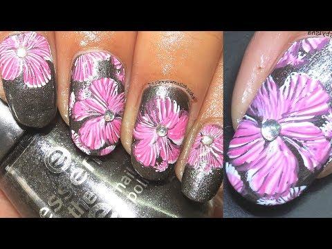 Double Stamping Nail Art Tutorial  Floral Nails  Designyournailsbyisha