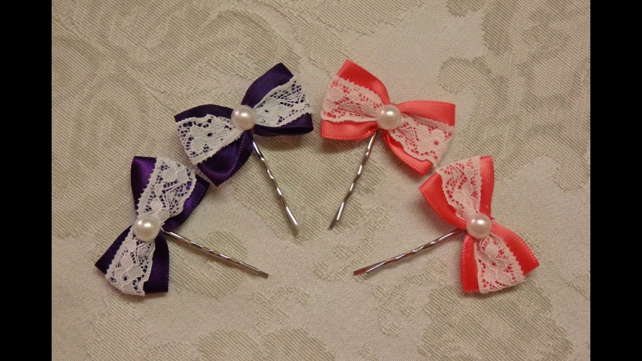 diy bow hairpins with lace easy