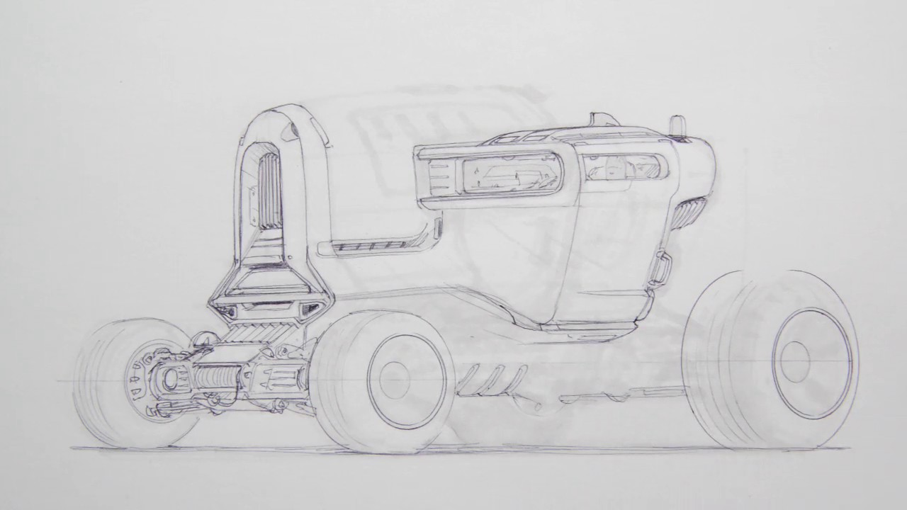 Sci-Fi Truck Sketching (no audio) - YouTube