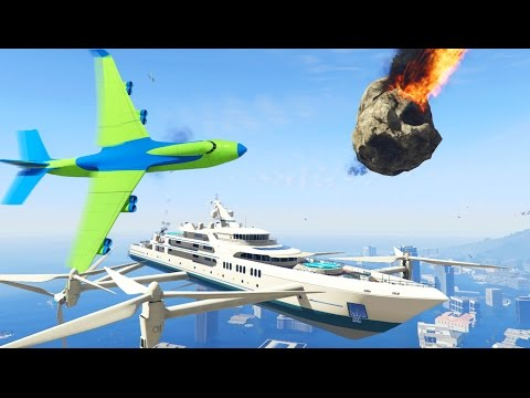 FLYING YACHT MOD VS ANGRY PLANES, METEORS AND TSUNAMI! | GTA 5 PC Mod Gameplay