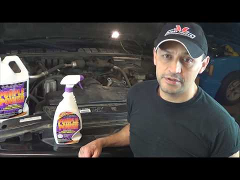 How to degrease an Engine at home with Purple Power Degreaser by Howstuffinmycarworks