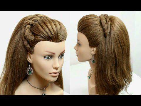 Hairstyle for long medium hair tutorial.  Half up half down