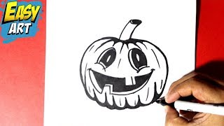 como dibujar una calabaza halloween - how to draw a halloween pumpkin - halloween