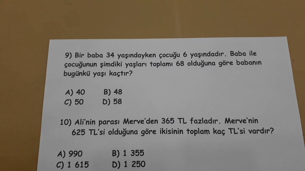 4.sınıf Matematik PROBLEM ÇÖZELİM