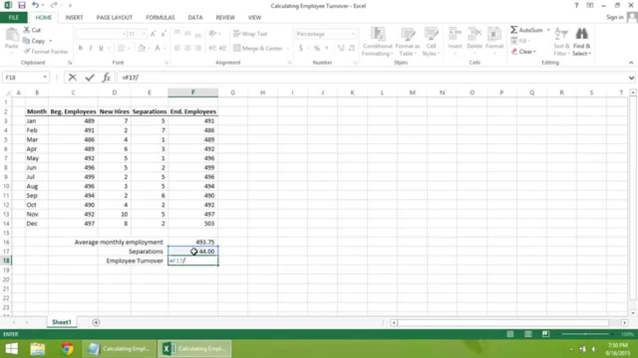 Excel 2013 Tutorial How to Calculate Employee Turnover YouTube – Turnover Report Template