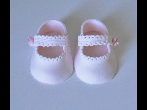 Cake decorating tutorials - how to make fondant baby lace shoes - Sugarella Sweets