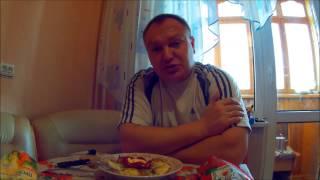 Яичница с салом на завтрак.