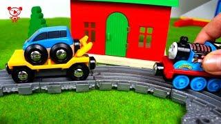 Дерев'яні іграшки поїзда для дітей Томас і друзі - паровозик Томас і Бріо, потяги та автомобілі 4К