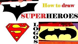 draw logos superheroes easy stuff cool step paper drawing beginners batman superman getdrawings