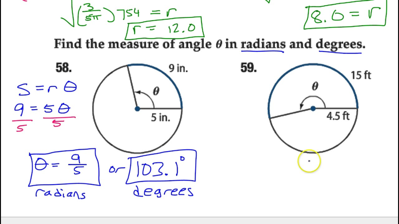 how to find central angle with radius and arc length