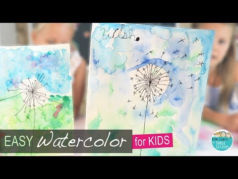 Easy Watercolor Painting for Kids | How to Draw a Dandelion | Flower Art