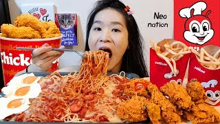 ULTIMATE JOLLIBEE FEAST!! Spicy Chickenjoy, Spaghetti, Eggs & Fries | Mukbang w/ Asmr Eating Sounds