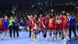 Bucuria handbalistelor tricolore după victoria cu Ungaria, 21-17