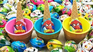 Opening Marvel Spider-Man Surprise Eggs A Lot of Eggs Toys Video For Kids