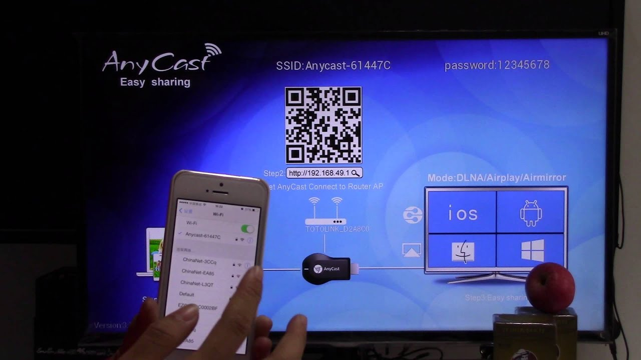 anycast cortex A9 1 2GHz 256M DDR free APP miracast airplay dongle airplay  dlna instruction video