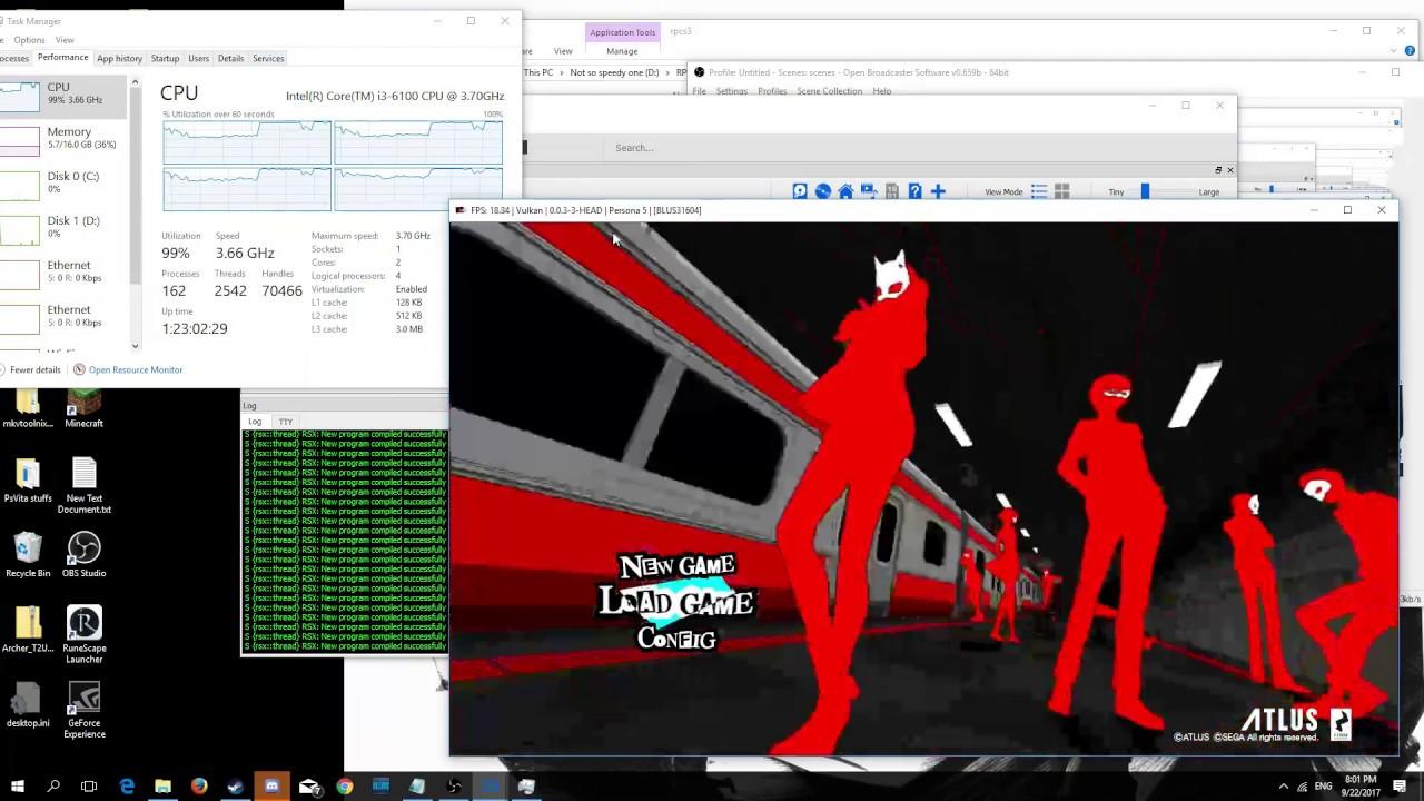 Persona 5 - Rpcs3 v0 0 3-8e66e719 - gtx 1050ti - i3 6100 by Mitchel Stewart