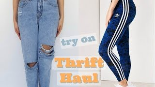 THRIFT TRY ON HAUL! Adidas, Mom jeans, Nike, etc!!