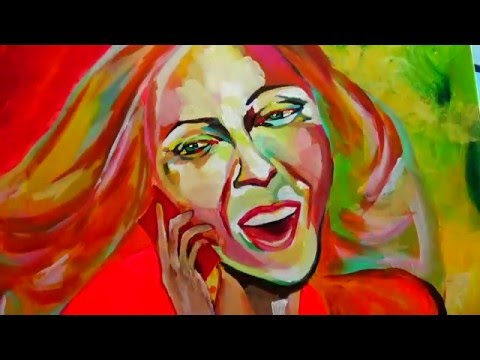 Spontaneous Realism / Abstract Art (Acrylic)- Chatting Girl (Portrait)