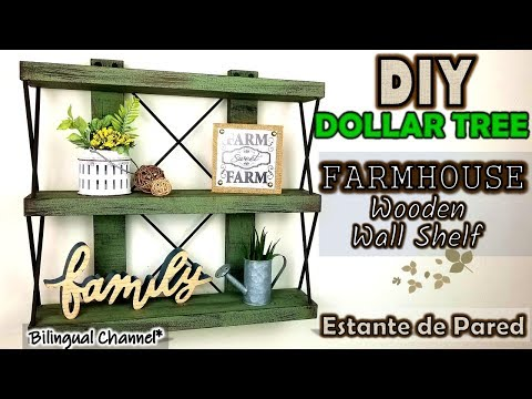 Dollar Tree DIY | Farmhouse Decor | Wooden Wall Shelf | Estante de Pared Rústico