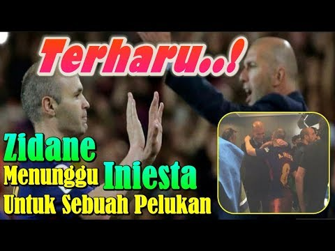 TERHARU!!! Usai Laga, Zinedine Zidane Menunggu Andres Iniesta Untuk Sebuah Pelukan Perpisahan