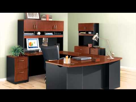Bow Front L Shaped Desk Sauder Via Collection National Business Furniture Youtube