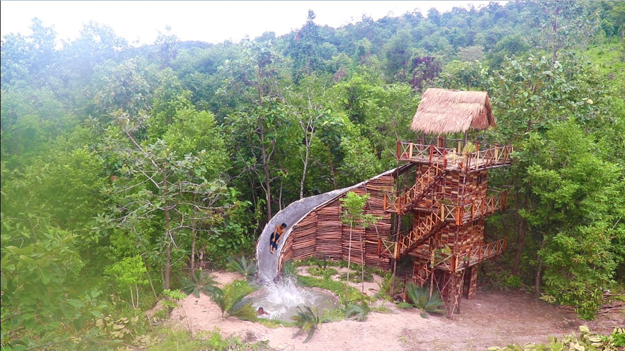 Build Four Story Wood Brick Villa House &  Swimming Pool With Water Slide By Ancient Skills ( fu