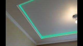КАК подключить светодиодную ленту rgb 12 вольт к блоку питания Подсветка потолка из гипсокартона