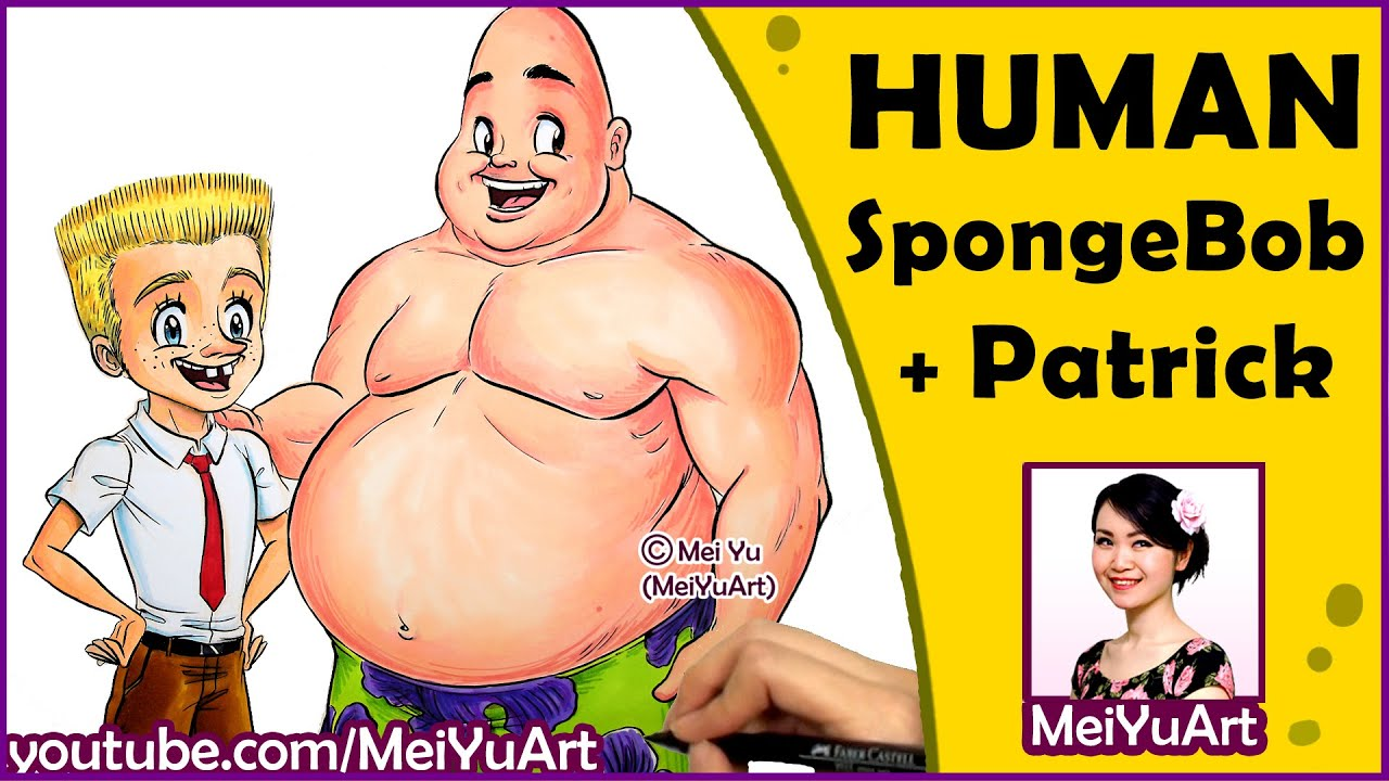 human spongebob patrick how i draw cartoon crossovers people
