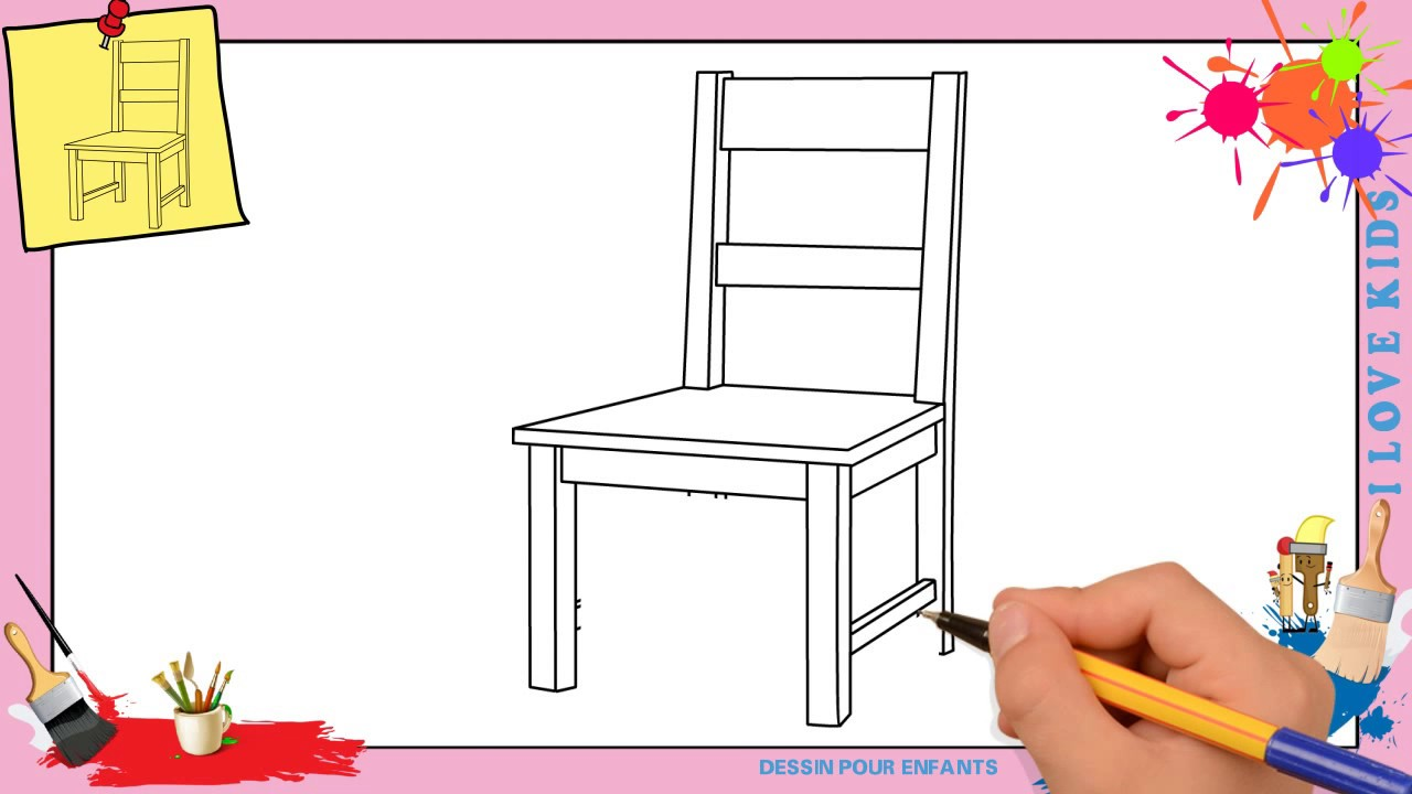 dessin chaise comment dessiner une chaise facilement pour enfants youtube. Black Bedroom Furniture Sets. Home Design Ideas