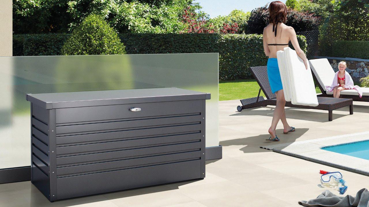 auflagenbox kissenbox freizeitbox von biohort youtube. Black Bedroom Furniture Sets. Home Design Ideas