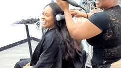 She has so much hair!!! Sew in on Long Hair!!!