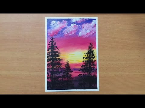 Simple Landscape Painting / Easy Blending Technique For Beginners / painting for beginners /