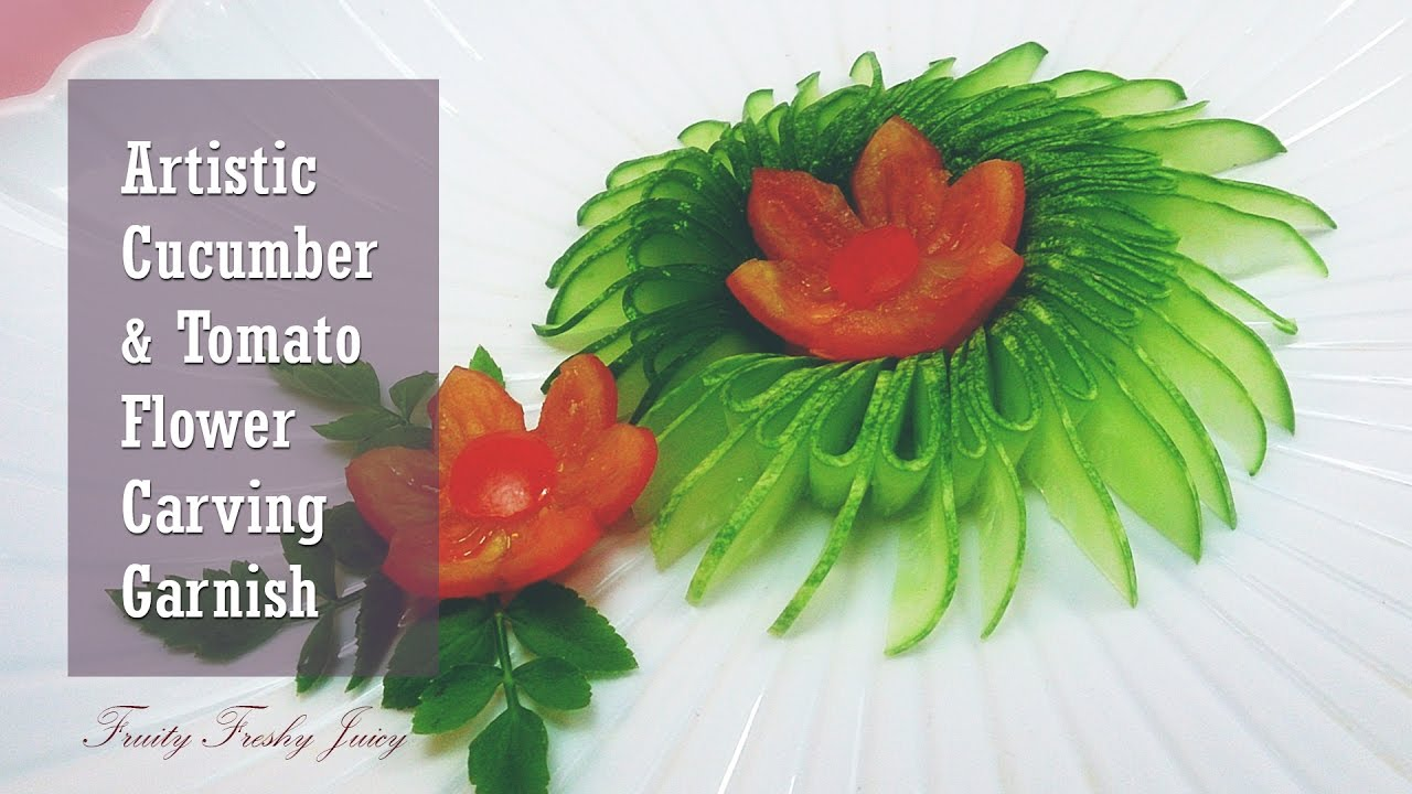 Vegetable Carving With Tomato Artistic Cucumb...