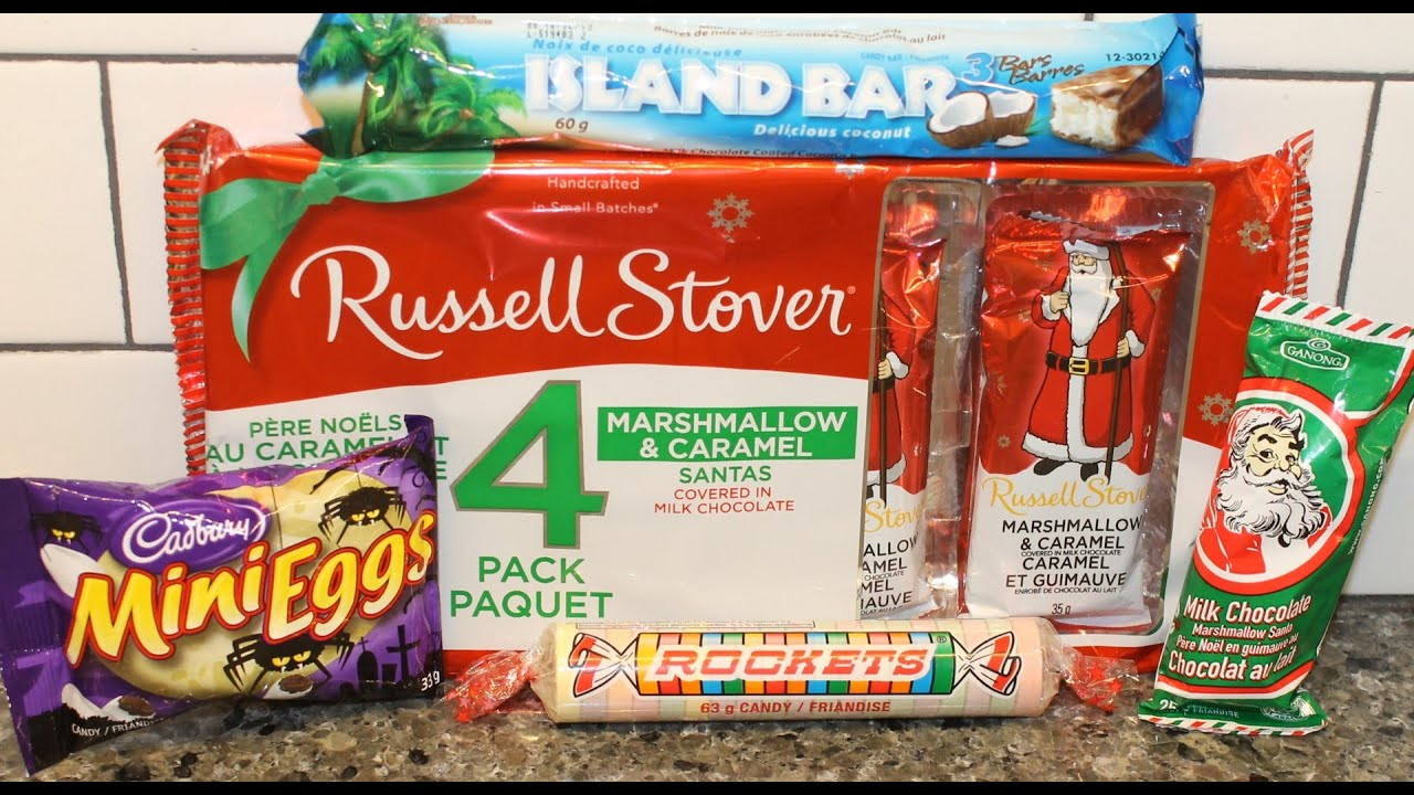 russell stover caramel, cadbury mini eggs, island bars, ganong