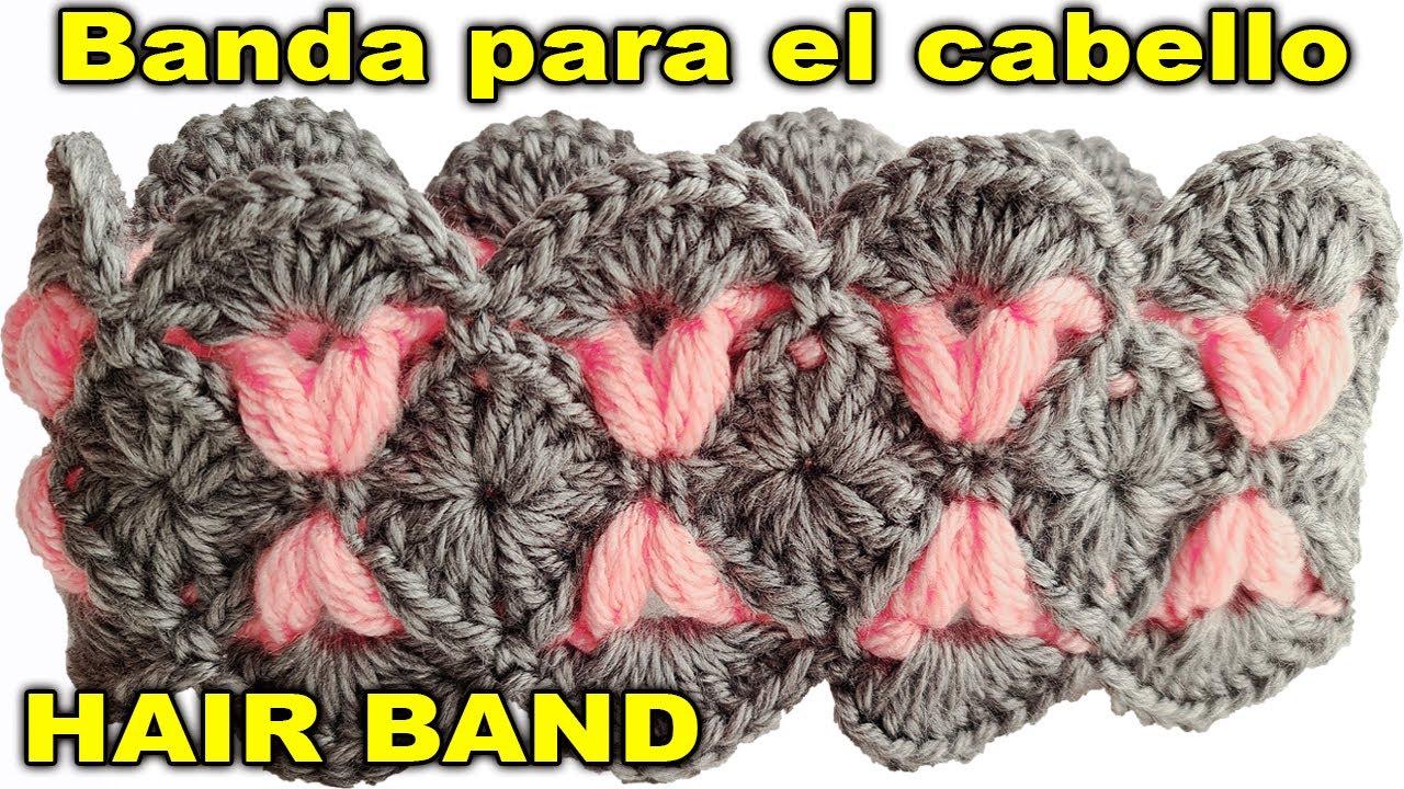 Banda para el cabello a crochet   Diadema tejida   Hair Band to crochet