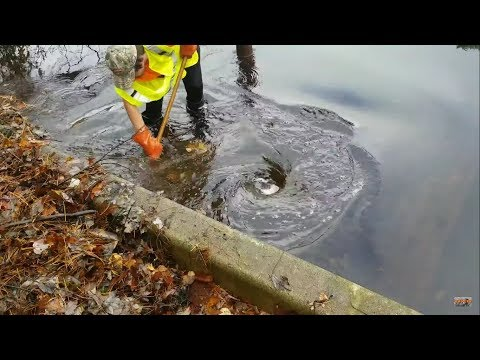 Unclogging Massive Lake Drain, Worst Clog I Have Ever Seen, Whirlpools Massive