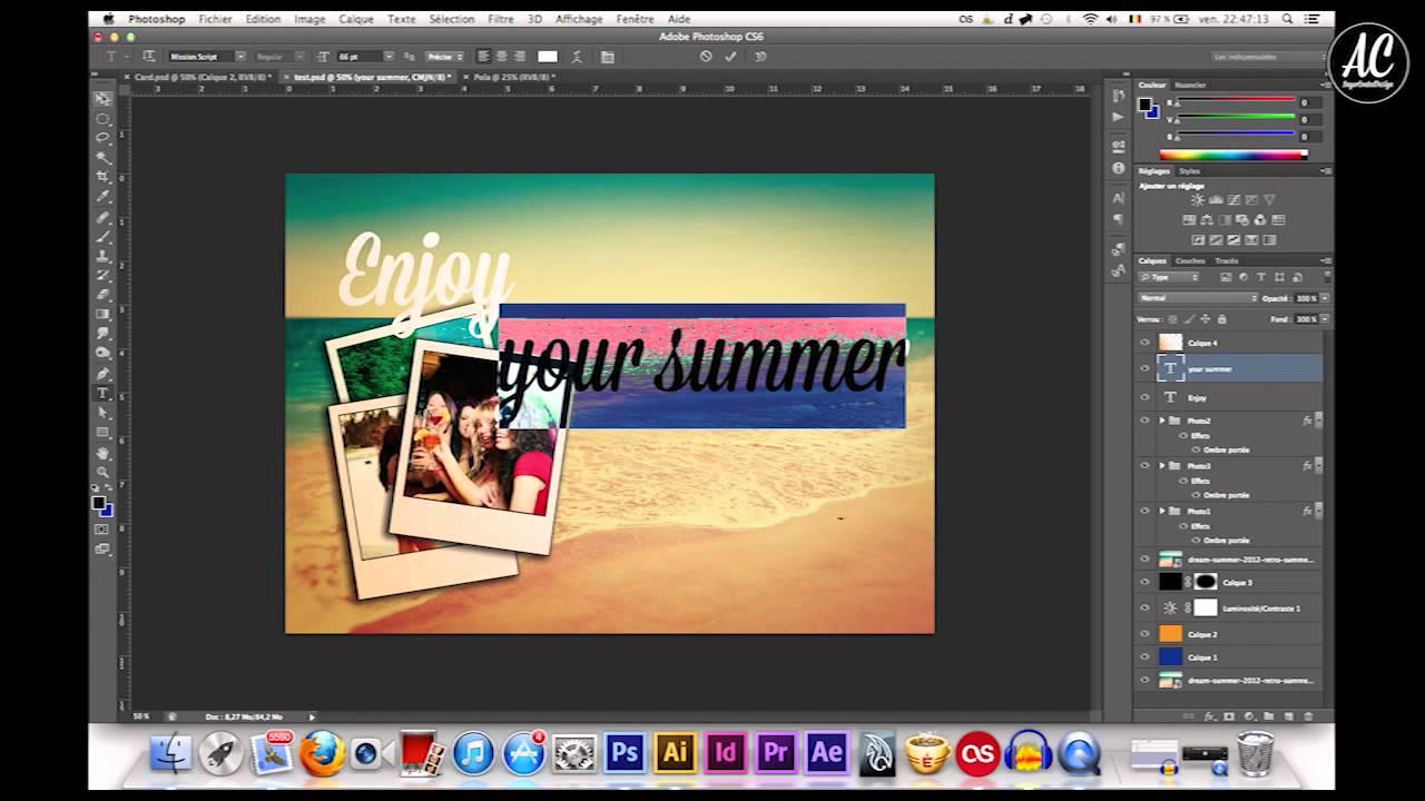 Illustrator/Photoshop Réalisation d'une carte postale ! - YouTube
