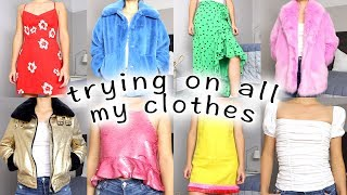 trying on EVERY piece of clothing i have left after my closet clean out!
