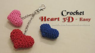 Download Video Crochet || EASY ❤ Cara Merajut Bentuk Hati Love || Heart 3D MP3 3GP MP4
