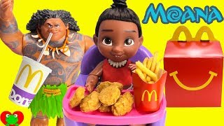 Baby Moana Eats McDonald's Happy Meal with Maui