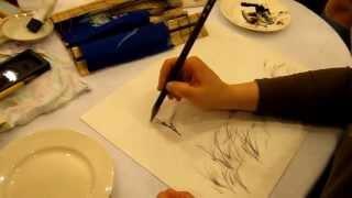 Как рисовать траву в стиле суибоку-га