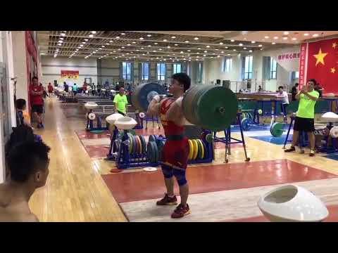 20170825 Tian tao Power Jerk220KG Weightlifting Chinese